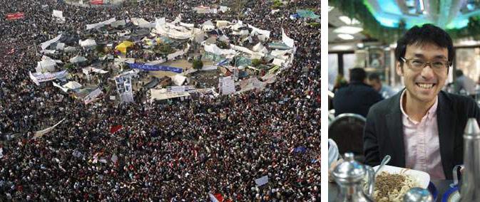 (左)エジプト革命の中心地となった首都カイロのタハリール広場。(右)中町信孝さん