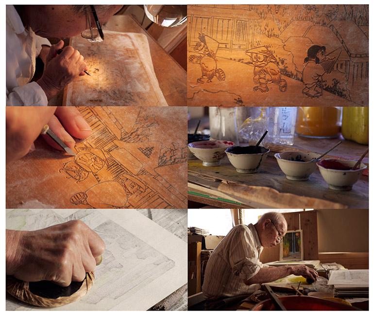 「ドラえもん」浮世絵木版画製作工程