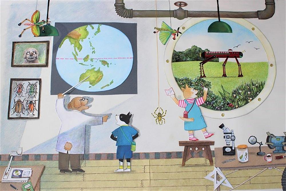 絵本『バッタロボットのぼうけん(仮)』の原画
