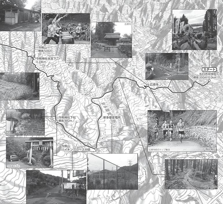 ハセツネCUPのコース地図。分岐での進む方向もバッチリわかるので、試走にも便利