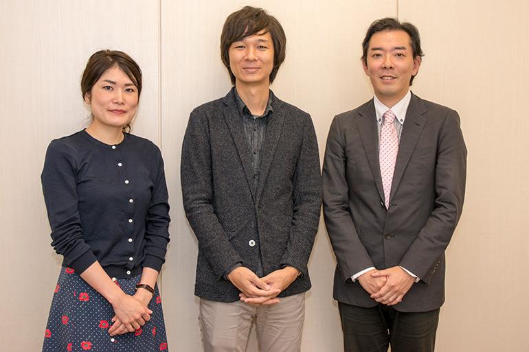 左から礒部ゆきえさん、岡崎琢磨さん、狩野大樹さん