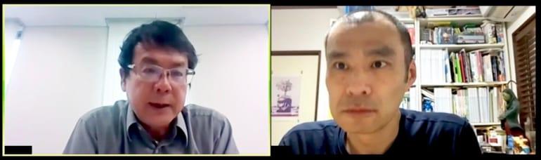 対談はオンラインで行われました。写真左から海堂尊さん、ヨシタケシンスケさん