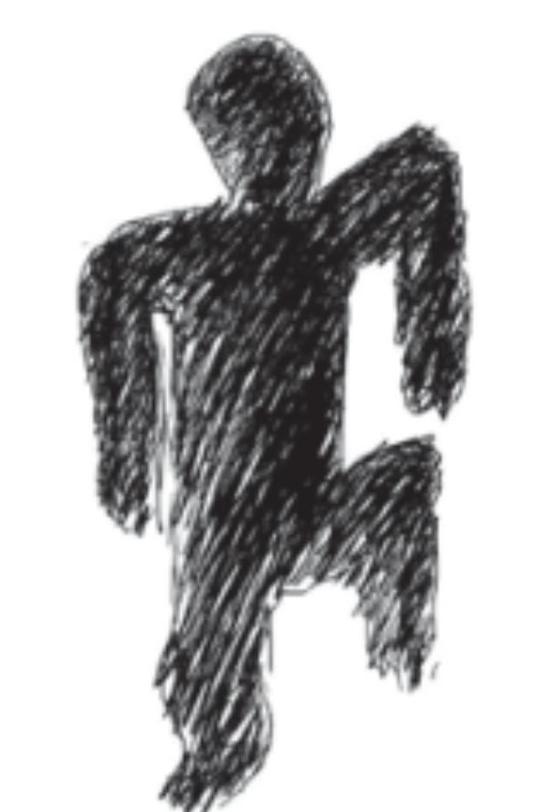 「ライドウ」開発時代に山井氏が自宅前で遭遇した、妙なポーズで立つ黒い人のイ...